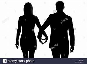 Hand In Hand Gehen : ein liebhaber kaukasischer paar mann und frau gehen hand in hand studio silhouette isoliert auf ~ Orissabook.com Haus und Dekorationen