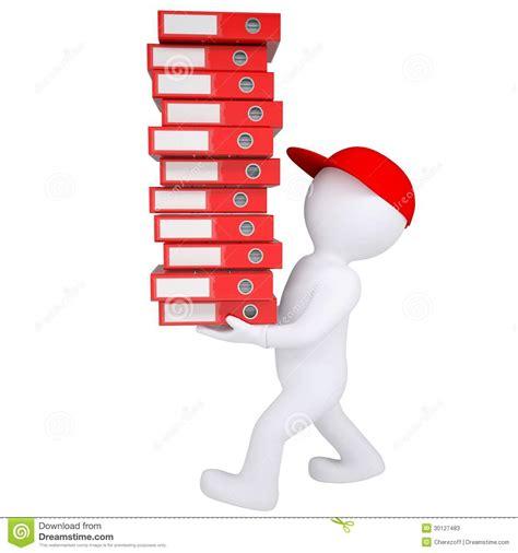 le de bureau à pile l 39 homme 3d blanc porte la pile de dossiers de bureau