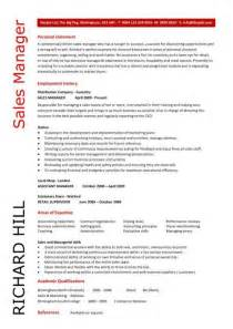 Senior Accountant Cover Letter Sales Manager Cv Exle Free Cv Template Sales Management Sales Cv Marketing