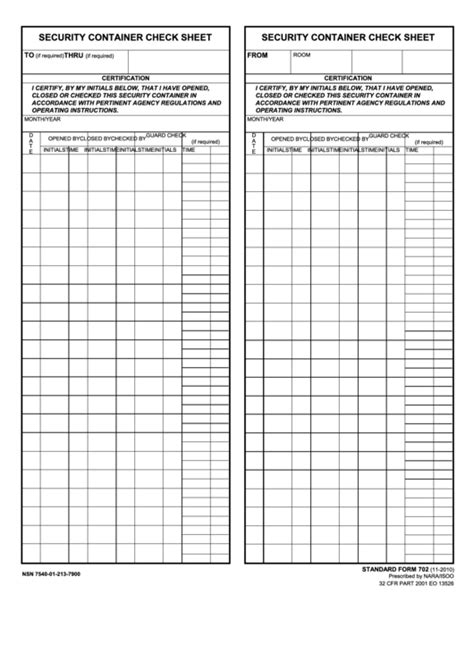 fillable security container check sheet security container