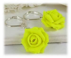 Neon Yellow Rose Drop Earrings