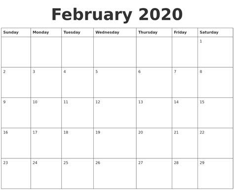 february blank calendar template