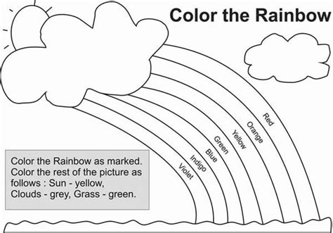 Different Types Of Color In A Rainbow Coloring Page