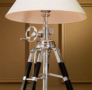 Royal marine tripod floor lamp polished aluminum and black for Royal marine tripod floor lamp antique brass