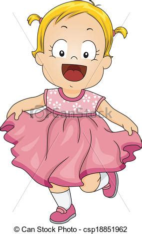 baby girl pink dress illustration   smiling