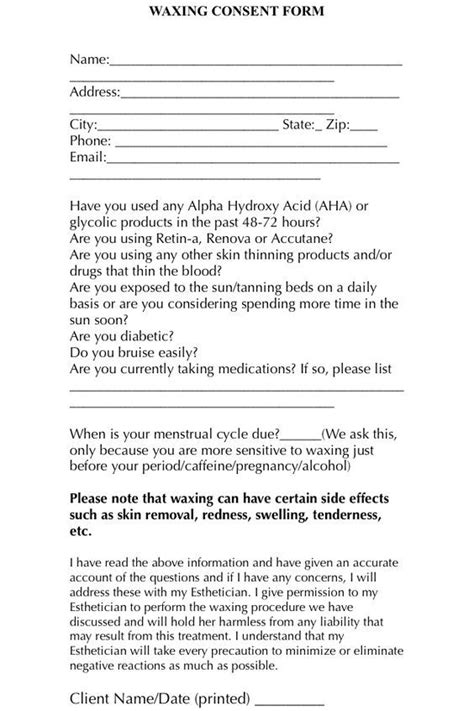 esthetician forms a simple and easy waxing consent form for your clients to