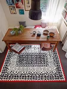 Tapis De Salle A Manger : tapis motifs noir pour salle manger blanc oriental esprit home ~ Preciouscoupons.com Idées de Décoration