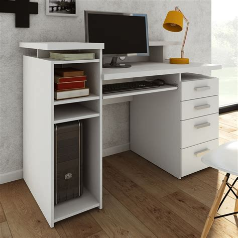 contemporary computer desk white shop tvilum wheaton contemporary white computer desk at
