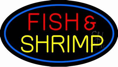 Neon Sign Fish Shrimp Signs Animated Seafood