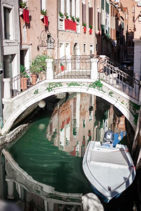 Venice Small Canal And Bridge Stock Image Image Of Worn