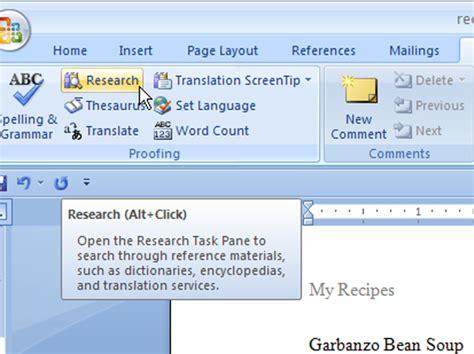 word  research task pane dummies