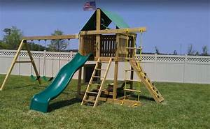 Premier Swing Set  10 Ft Wave Slide  Rock Climbing Wall  3 Belt Swings  U2013 The Swingset Co
