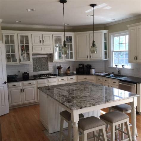 barnwood kitchen island blue dunes granite countertop farmhouse kitchen
