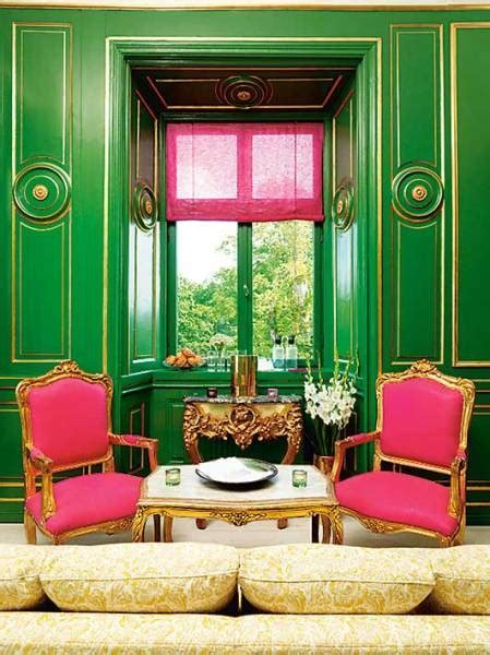pink  green room french living room