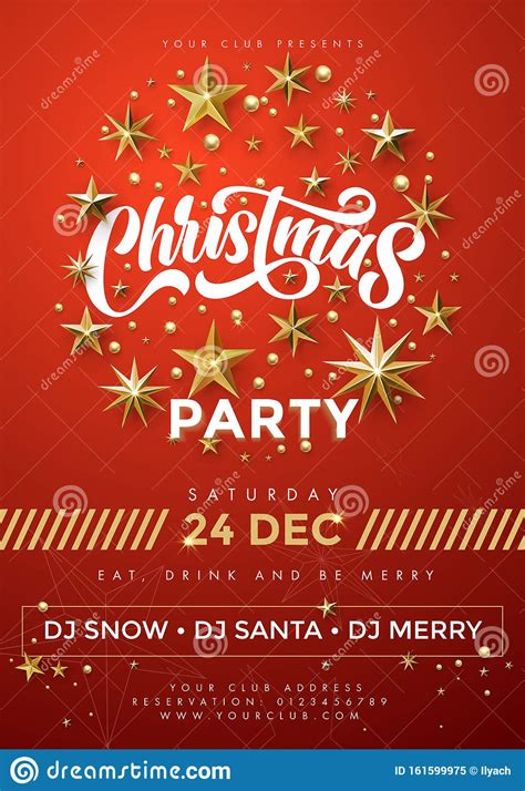 Merry Christmas Party Vector Red Poster 24 December