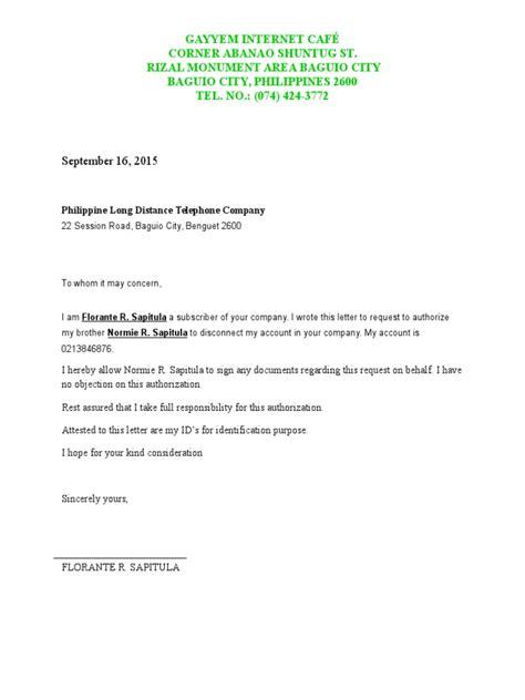 authorization letter  disconnection pldt