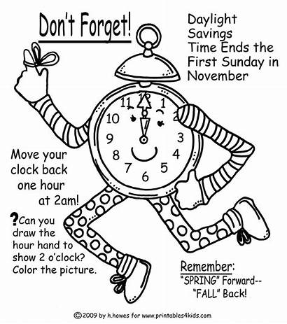 Coloring Change Fall Clock Pages Reminder Word