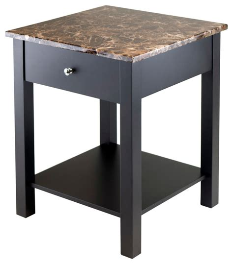 marble top end tables with drawers torri accent table with drawer faux marble top transitional side tables and end tables by