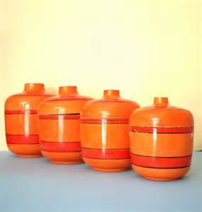 orange kitchen canisters orange retro canisters mid century kitchen japan lacquer ware kitsch