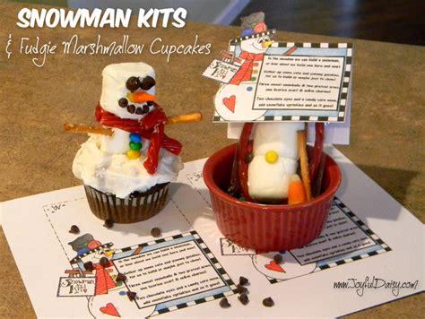 snowman snacks fudgie marshmallow cupcakes joyful daisy