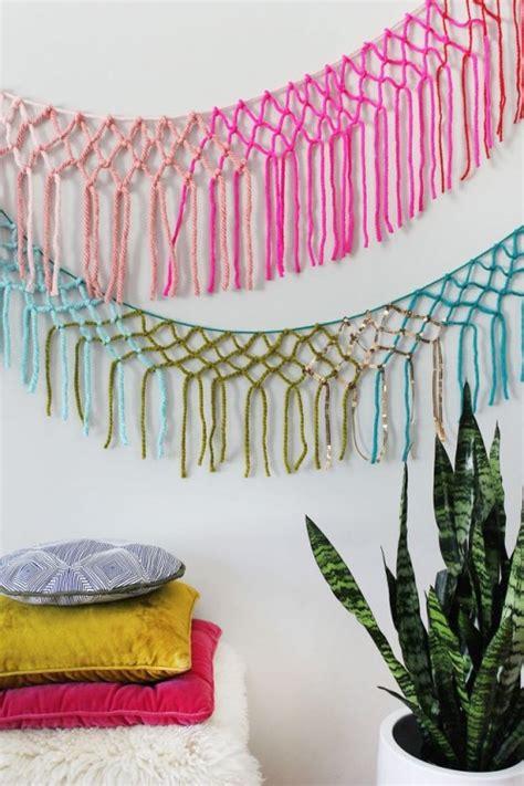 colorful diy macrame yarn garland  party decor