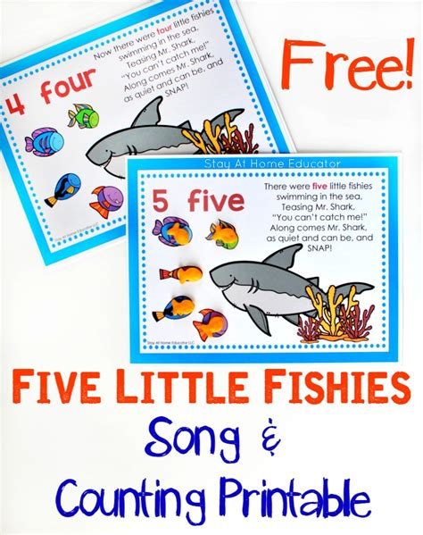 five fishies song and free counting printable 807 | Five Little Fishies Song and Counting Printable for prescholers