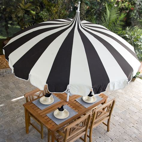 Black And White Striped Patio Umbrella by Pagoda Umbrella Sea Green Designs Llc