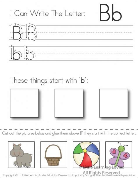 subscriber exclusive freebie letter b write cut paste activities childcare and