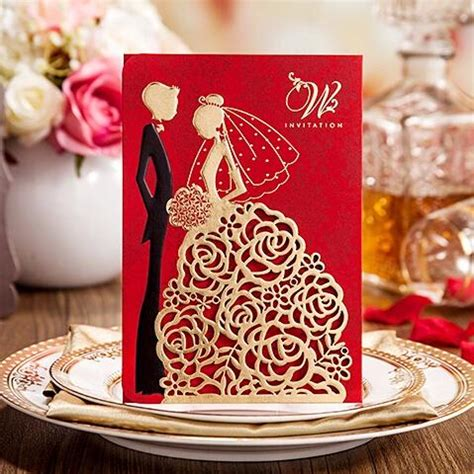 2018 New Personalized Wedding Invitations Cards Red Color
