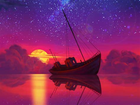 Download wallpaper 1600x1200 ship, full moon, horizon ...