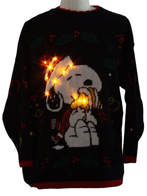 vintage  snoopy lightup ugly christmas sweater