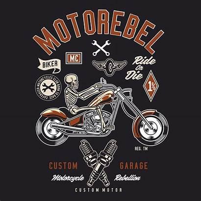 Biker Skeleton Custom Riding Garage Vector Ride