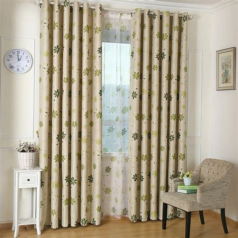 floral patterns green bedroom curtains of polyester