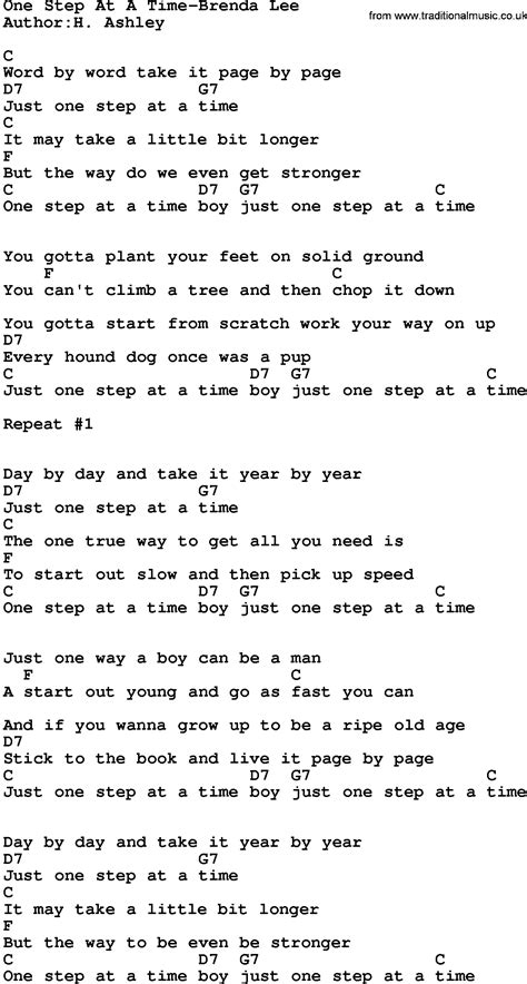 brenda lee one step at a time country music one step at a time brenda lee lyrics and chords