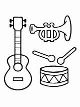 Musical Instruments Coloring Template Instrument sketch template