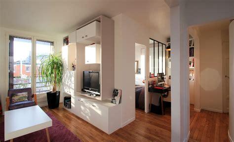 cuisine ouverte petit espace aménagement chambre dans un cube buttes aux cailles