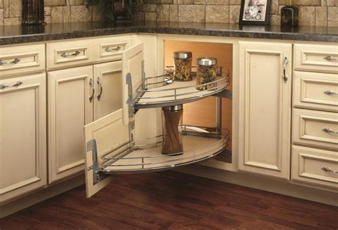 kitchen cabinet accessory options a spin on the blind corner cabinet woodworking network