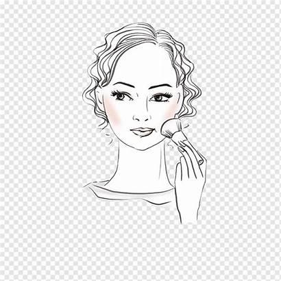 Ilustrasi Gambar Wanita Makeup Wajah Kartun Meletakkan