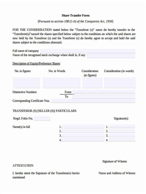 Off Market Share Transfer Form by 6 Standard Transfer Forms Free Sle Exle Format