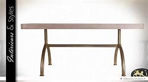 Table Contemporaine Bois Et Metal : table contemporaine m tal dor et patine bisque 180 cm int rieurs styles ~ Teatrodelosmanantiales.com Idées de Décoration