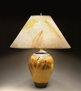 Small, Amber, Lamp, With, Red, Berries, By, Suzanne, Crane, Ceramic, Table, Lamp