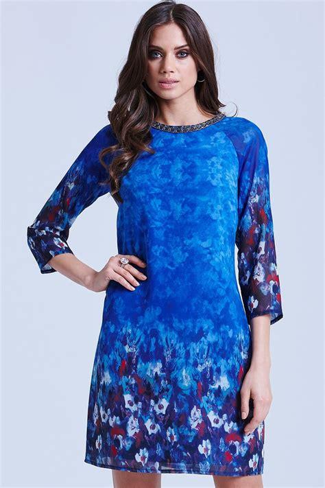 blue water paint floral tunic dress   mistress uk