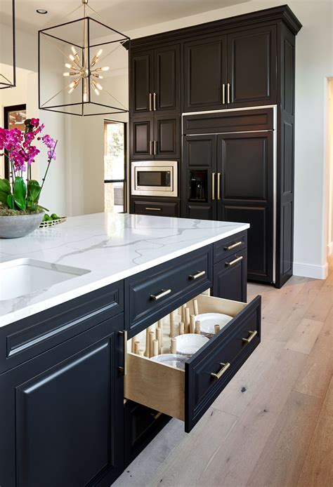 black white  gold transitional kitchen  european