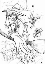 Coloring Witch Pages Lineart Halloween Deviantart Anime Jinxed Line Printable Patterns Adult Blank Pretty Sheets Manga Discover sketch template