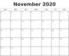 november 2020 monthly calendar template