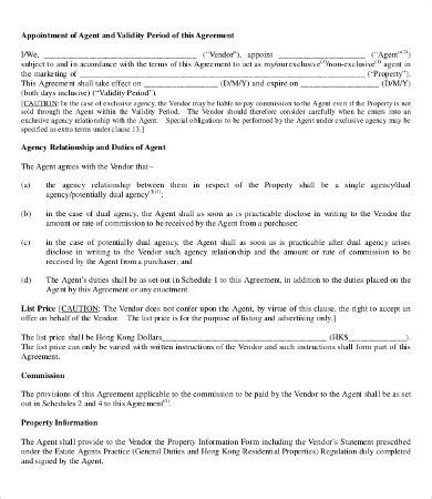 printable agent agreement templates word  pages
