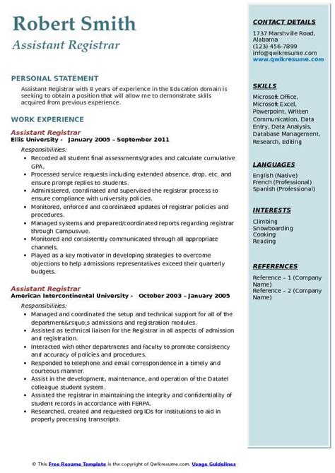 assistant registrar resume samples qwikresume