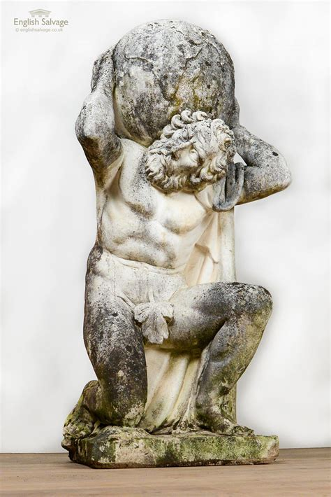 Weathered Composition Marble Statue Of Atlas