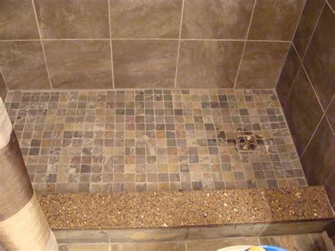 slate mosaic tiles  shower floor quartz shower curb