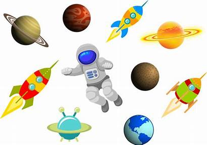 Space Cartoon Science Vector Items Satellite Clipart